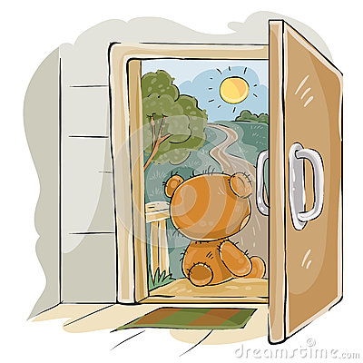Vector illustration of a brown teddy bear sad sitting on the porch, looking at the road and waiting for someone Vector Illustration