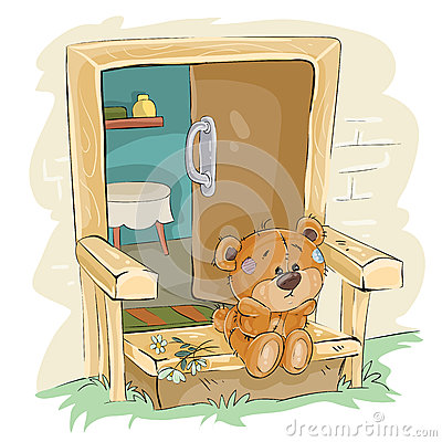 Vector illustration of a brown teddy bear sad sitting on the porch and waiting Vector Illustration
