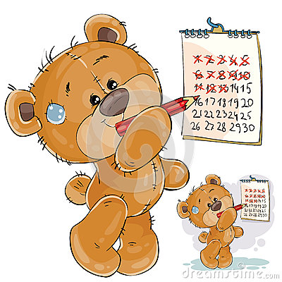 Vector illustration of a brown teddy bear strikes out the days in the calendar. Vector Illustration