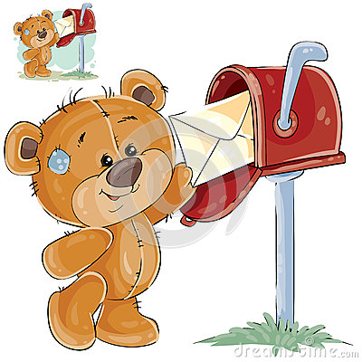 Vector illustration of a brown teddy bear takes from a mailbox the received letter Vector Illustration