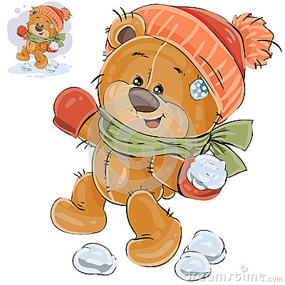 Vector illustration of a brown teddy bear throws a snowball Vector Illustration