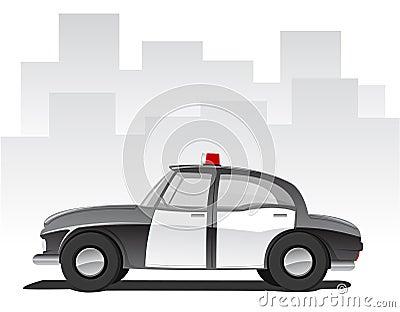 Vector illustration of cartoon police car
