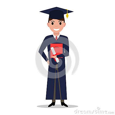 Vector illustration cartoon student boy graduate Vector Illustration