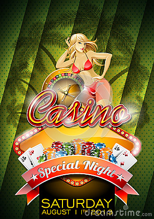 Vector illustration on a casino theme with sexy girl