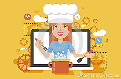 Vector illustration chef cook nutritionist dietician woman HLS cooking training education recipe blog proper and healthy Vector Illustration