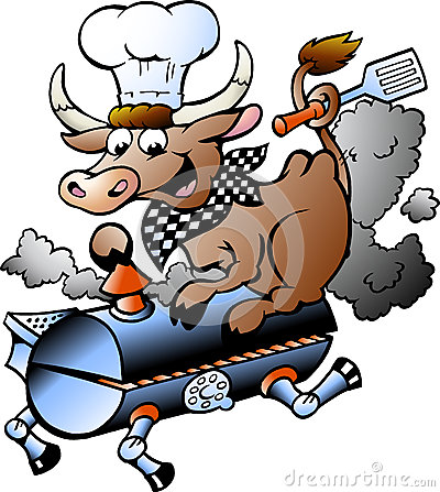 Vector illustration of an Chef  Cow riding a BBQ barrel