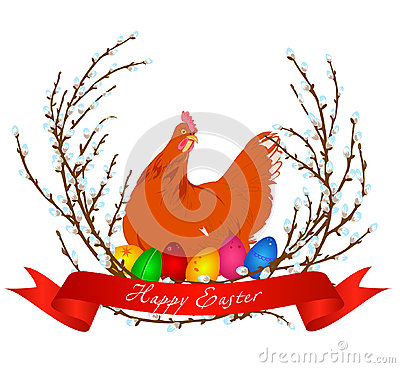 Vector illustration of chicken, easter eggs and spring willow Cartoon Illustration