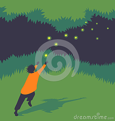 Free Vector Illustration Child Chasing Fireflies Stock Photos - 65429163