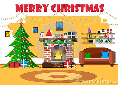 Vector illustration for Christmas with Christmas tree and retro furniture. Flat design with spruce and fireplace. Vector Illustration