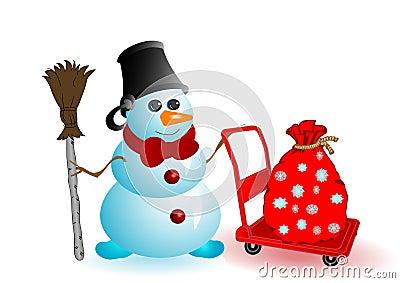 Vector illustration the Christmas snowman