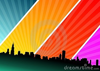 Vector illustration  with city on shine background