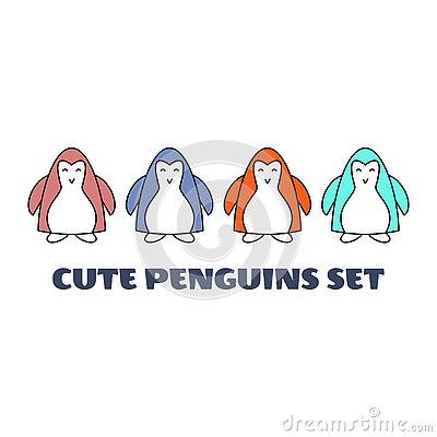 Vector illustration. Collection of cartoon colourful penguins isolated on white background. Cute Baby Penguins Cartoon Illustration