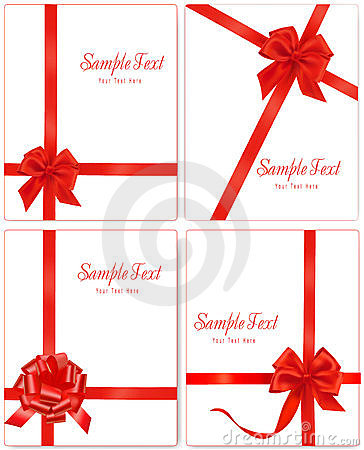 Vector illustration. Collection of red gift bows