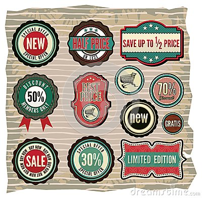 Collection of vintage retro grunge sale labels, ba