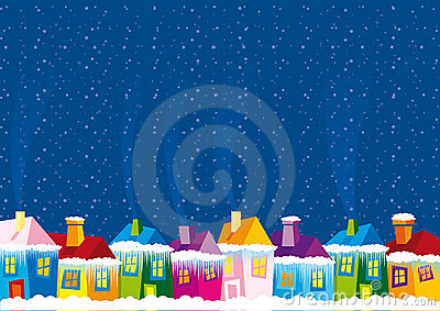 Vector illustration color houses in winter