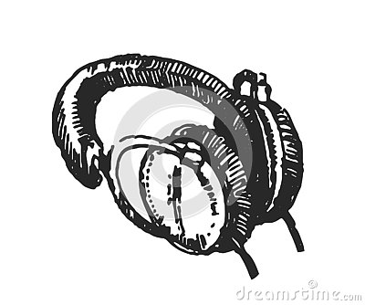 Vector illustration concept of Headphones hand drown illustration on white background Vector Illustration