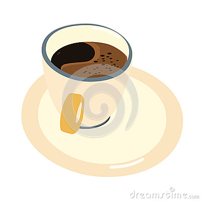 Vector illustration of a cup of coffee with a saucer isolated Vector Illustration