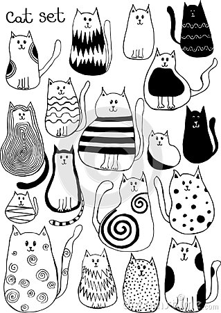 Vector illustration with cute doodle cats. Outline animal art Vector Illustration