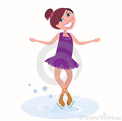 Vector Illustration of cute ice skating woman