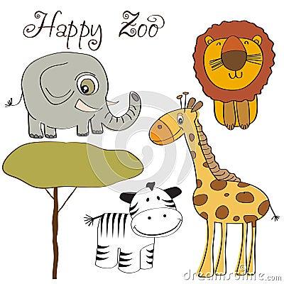 Vector illustration of cute wild animal set