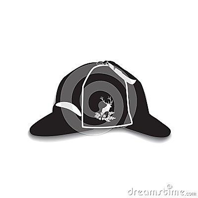 Vector illustration of deerstalker hat in flat style Vector Illustration