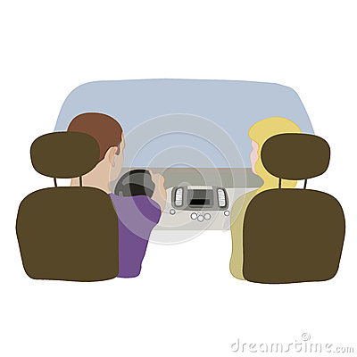 Vector illustration depicting a driver and passenger in the car from behind. Vector Illustration
