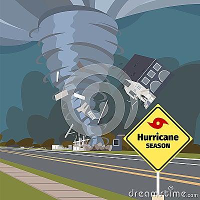 Vector illustration of a destructive hurricane Vector Illustration