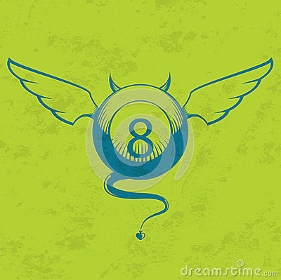 Vector illustration of eight ball with horns and t