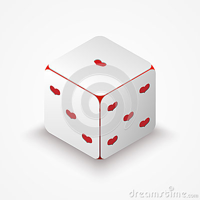 Dice with red hearts.