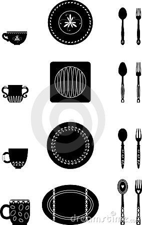 Vector illustration of dishes