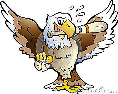 Vector illustration of an Eagle Playing Baseball