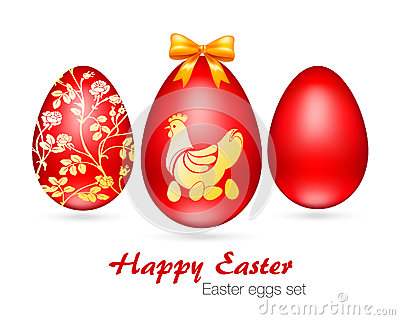 Vector illustration of Easter eggs set Cartoon Illustration