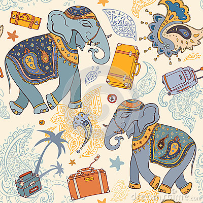 Vector illustration of an elephant. Travel pattern