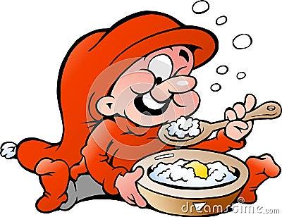 Vector illustration of elf eating porridge