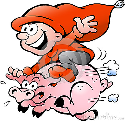 Vector illustration of elf riding on a pig