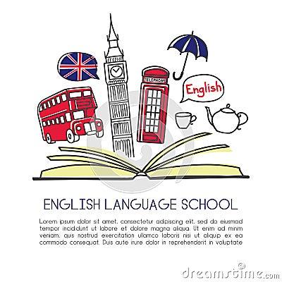 Vector illustration English language school with symbols of London Vector Illustration