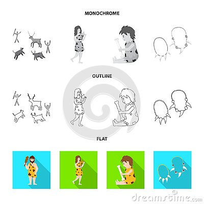 Vector design of evolution and neolithic sign. Set of evolution and primeval vector icon for stock. Vector Illustration