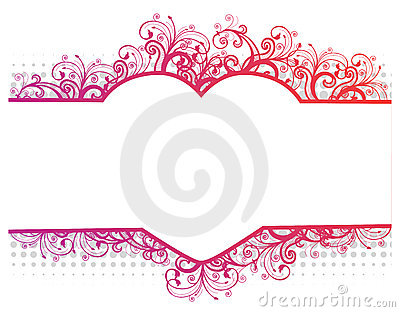 Vector illustration of a floral border with heart