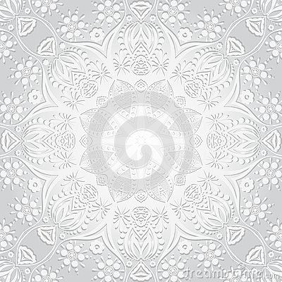 Free Vector Illustration. Flower Circular Background. A Stylized Drawing. Mandala. Stylized Lace Ornament. Indian Floral Ornament. Stock Image - 60473461