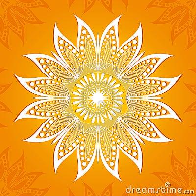 Free Vector Illustration. Flower Circular Pattern. A Stylized Drawing. Mandala. Stylized Lotus Flower Royalty Free Stock Images - 60480669