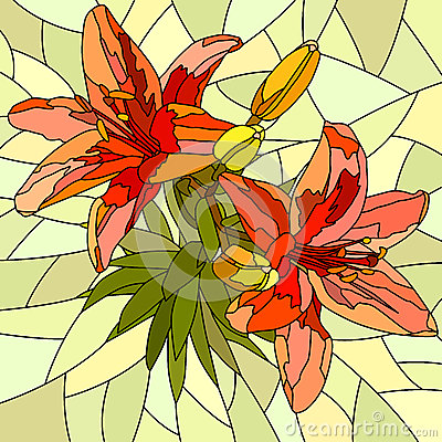 Vector illustration of flower red lilies.