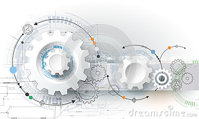 Vector illustration gear wheel, hexagons and circuit board, Hi-tech digital technology and engineering Vector Illustration