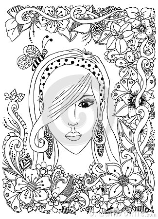 Vector Illustration Girl With Asian Zentangle Bee Inher