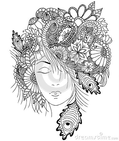 Free Vector Illustration Girl With Flowers And Zentangle Snail On Her Head. Stock Photo - 80704330