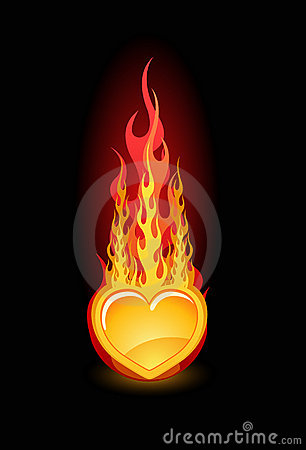 Vector illustration of a glossy heart in fire