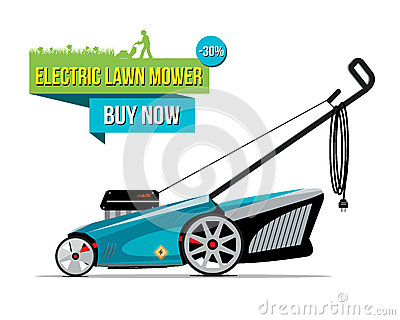 Vector illustration of grass-cutter with electric lower mower Vector Illustration