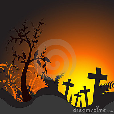 Vector illustration of a grave