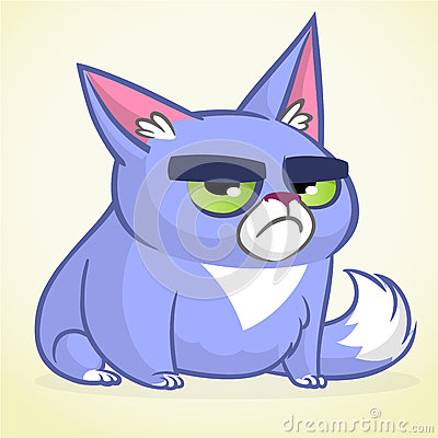 Vector illustration of grumpy blue cat. Cute little cartoon cat with a grumpy expression. Vector Illustration