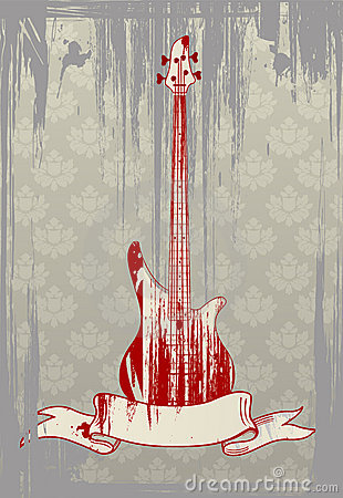 Vector illustration of grungy bass guitar