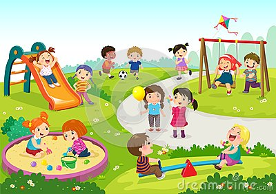 Happy children playing in playground Vector Illustration